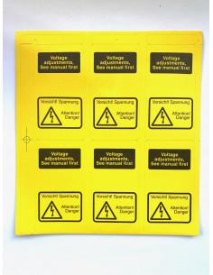 6x Stickers Yellow warning...