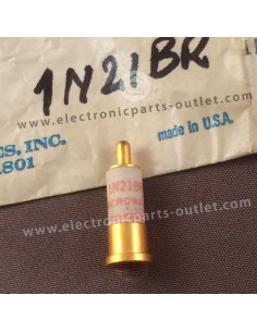 1N21BR Silicon, point-contact mixer diode, NF 12.7dB at 3GHz. Reverse polarity.